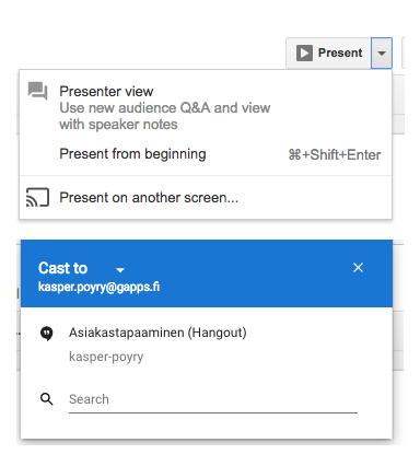 Kuvakaappaus Google Slidesista.